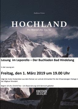 "Lesung ""Hochland"""